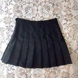 American Apparel Black Pleated Mini Tennis Skirt